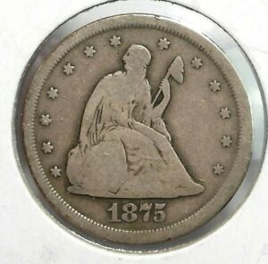 1875-S USA 20 Cent Type Coin Fine Condition (089)