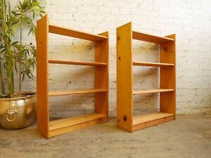 2 x Modern Freestanding Open Pine Bookcases Book Shelves Shelving Display Units