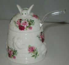 Staffordshire England Royal Patrician Fine Bone China Honey Jar w/Glass Spoon