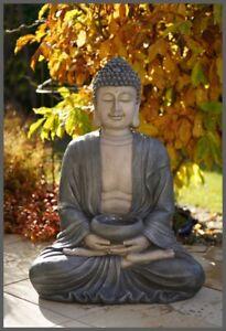 XL BUDDHA Brunnen 120 cm ho. Zimmerbrunnen Garten LED Licht Feng Shui grau-beige