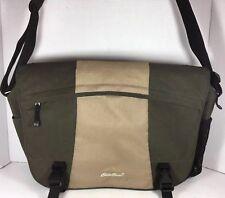 Eddie Bauer Large Green/Tan Fabric Messenger Laptop Computer Travel Bag