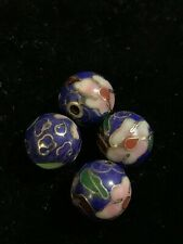 4 Vintage Blue w Pink Flowers Leaves Cloisonne Chinese Enamel Round Beads 10mm