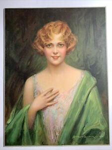 1920's Pin Up Flapper Girl Art ORIGINAL Print C B Chambers Beauty In Green