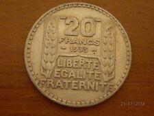 Pièce en argent 20 francs de 1933