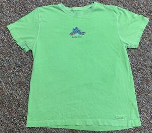 """Life is Good Running T Shirt """"Gotta Run"""" Green Womens Large Short Sleeve"""