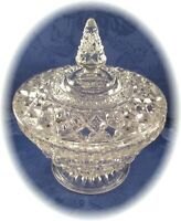 Vintage Crystal Clear Compote With Cover Lid Footed Pedestal Base Mint Condition