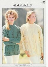 """Jaeger aran knitting pattern 6409 cabled sweater 76-102cm 30-40"""""""