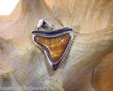 21mm STER Silver Genuine Hawaiian Curly Koa Wood Inlay Tiger Shark Tooth Pendant