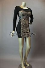 New with Tag MINK PINK Stretchy Jersey Black Leopard Cheetah Dress XS