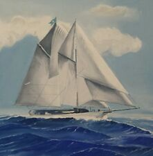 Classic Sailboat Flying Yacht Club Burgee Portrait Painting, Schooner