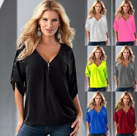Women Ladies Girl Office Party Chiffon V Neck Shirt Blouse Top Shirt Clothes