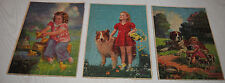 C Moss Puzzles - Lot of 3 - 1940s -1st Swimming Lesson-Daisy Days-The Home Guard