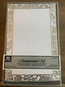 Pretty Amscan 50 Count Wedding Invitation Kit Silver & White Announcement Kit