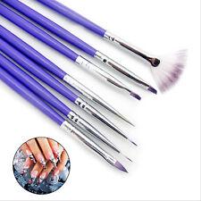 7pcs Pinceau Fin Liner Ongle Peinture Brosse UV Gel Acrylique Brush Nail Art Pen