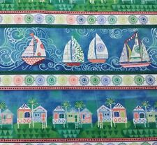 Dream Boats by Janet Broxon BTY Quilting Treasures Scenic Stripe Blue Green