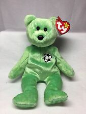 Retired TY Beanie Baby - Kicks The Soccer Bear - With Swing & Tush Tag Error