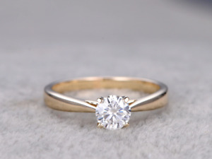 0.5ct Round Cut Diamond Engagement Ring 14k Yellow Gold Finish Promise Solitaire