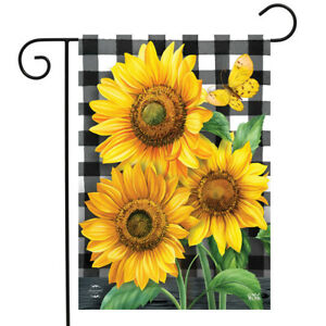 "Checkered Sunflowers Summer Garden Flag Floral Everyday 12.5""x18"" Briarwood Lane"