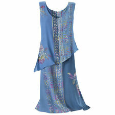 Indigo Ancient Batik Beaded layer dress ~ Size LG
