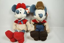 Disney Store Indian Summer Mickey Minnie Mouse Plush Cowboy 16 inch With Tag