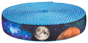 Country Brook Design® 1in Galactic Neighbors on Ice Blue Nylon Webbing, 5 Yards