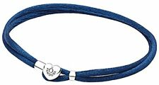 S925 ALE PANDORA GENUINE SILVER NAVY FABRIC CORD BRACELET WITH LOGO HEART 18cm