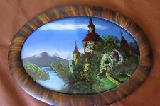 Antique Reverse Painting on Glass in Original Oval Frame