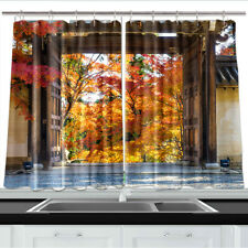 Japanese Style Wooden Door Kitchen Curtains 2 Panel Set Decor Window Drapes