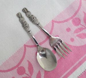 Oneida Community Stainless PETER RABBIT Baby Fork & Spoon Child's Toddler Set