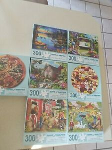 300 piece jigsaw puzzles large pieces lot of 7 Bits and Pieces brand