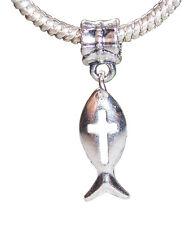 Jesus Fish Cross Christian Jewelry Dangle Bead for European Style Charm Bracelet