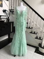 Mint Luxury Handmake Beading Long Prom Dress Wedding Pageant Gown Size 8-14 InSt
