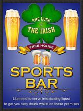 Irish SPORTS BAR, Retro Metallo Segno/Targa Pub Bar Man Grotta sala giochi
