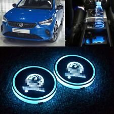 2x Vauxhall Universal LED Cup Holder Light USB Auto Interior Atmosphere Lights