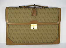Vintage Gucci Leather Canvas Briefcase Horse Stirrup Pattern
