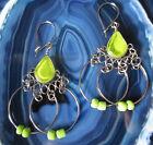 Pendiente Pendientes Alpaca Plata Verde Cristal Perlas indio Inka Maya 41