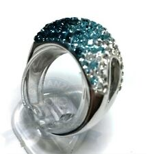 Anello'Onda' in Bronzo platinato   pietre colorate. Ring studded with blue stone
