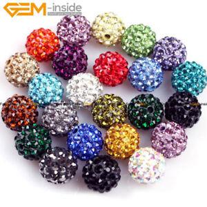 10mm Round CZ Crystal Rhinestones Pave Clay Disco Ball 10 Pcs Colors Pick