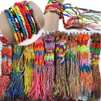 50pcs Bulk Lots Colorful Braid Friendship Cords Strand Bracelet Braided Rope Hot