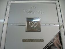 Wedding Photo Album Crystal Diamante Hearts Brushed Silver Engraving Plate