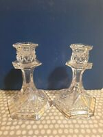 Vintage Pair Of Glass Candle Holders