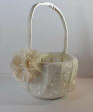 Flower Girl Lacy Ivory Wedding Basket