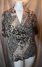 JKLA Ethnic Print Blouse-100% SILK CHIFFON-Size LARGE  Semi-Sheer