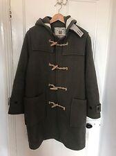 Mens ORIGINAL MONTGOMERY duffel coat khaki green wool England size 42 m l