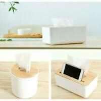 Wooden Tissue Box Cover Paper Napkin Holder Case Home Room Hotel Simple Car Y1S1