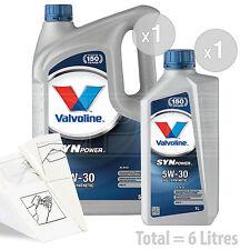 Car Engine Oil Service Kit / Pack 6 LITRES Valvoline SynPower C3 5W-30 6L