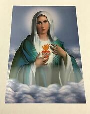 """Immaculate Heart of Mary 3D-HOLOGRAPHIC IMAGE-PICTURE 23"""" X 15"""" INCH"""