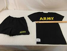 US Army APFU Black Gold Physical Training PT Uniform XSmall Shirt & Shorts 33443