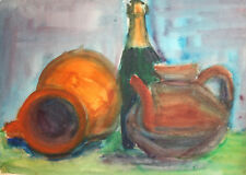 Vintage watercolor painting still life with pitchers and bottle