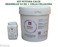 GRASSELLO DI CALCE KG 24  + COLLA CELLULOSA CMC + RICETTE PER PITTURA CALCE
